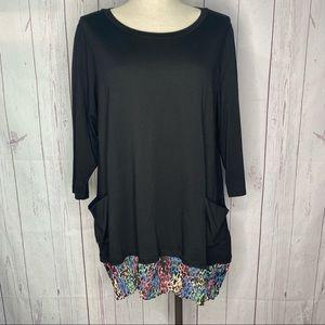 LOGO Lori Goldstein Black Tunic Long Sleeve 1X